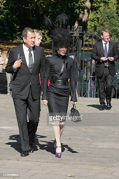 Mario Testino and Daphne Guinness arriving at the Isabella Blow Memorial Service at the Guards Chapel on September 18 2007 in London England