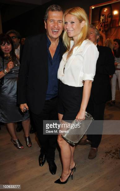 Mario Testino and Gwyneth Paltrow attend the private view of 'Mario Testino Kate Who' at Phillips de Pury Company on July 5 2010 in London England
