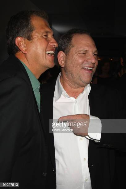 Mario Testino and Harvey Weinstein pose at the Afterparty for Burberry Prorsum Spring/Summer 2010 Show at Horseferry House during London Fashion Week...