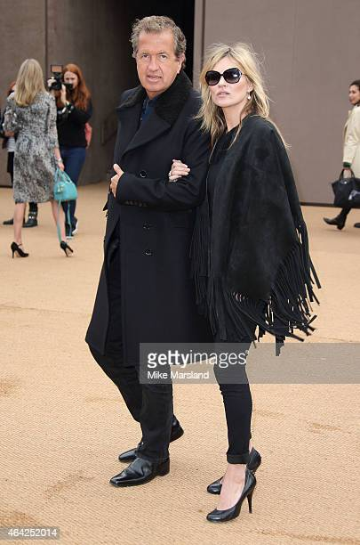 Mario Testino and Kate Moss attend attend the Burberry Prosum show during London Fashion Week Fall/Winter 2015/16 at perk's Field on February 23 2015...