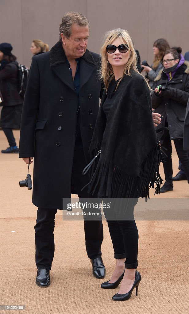 Mario Testino and Kate Moss attends the Burberry Prorsum AW 2015 arrivals during London Fashion Week at Kensington Gardens on February 23, 2015 in London, England.