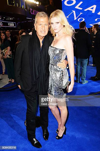 Mario Testino and Lara Stone attend a Fashionable Screening of the Paramount Pictures film 'Zoolander No 2' at Empire Leicester Square on February 4...