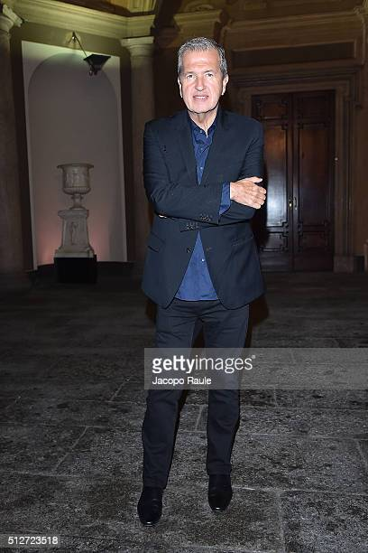 Mario Testino attends Vogue Cocktail Party honoring photographer Mario Testino on February 27 2016 in Milan Italy