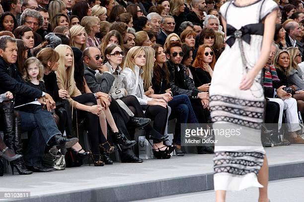 Mario Testino Jemima Khan Claudia Schiffer Emma Watson Joana Preiss and Hidetoshi Nakata attend the Chanel PFW Spring Summer 2009 show at Paris...