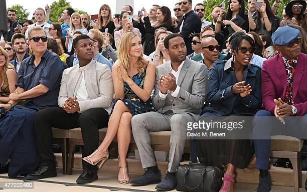 Mario Testino John Boyega Suki Waterhouse Chiwetel Ejiofor Sofia Davis and Samuel L Jackson sit in the front row at Burberry Menswear Spring/Summer...