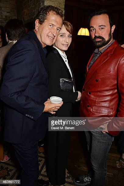 Mario Testino Kristin Scott Thomas and Evgeny Lebedev attend Harvey Weinstein's BAFTA Dinner in partnership with Burberry GREY GOOSE at Little House...
