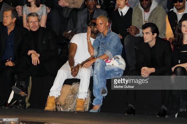 Mario Testino Lambert Wilson Kanye West Amber Rose and Raphael Enthoven at the Dior Homme fashion show during Paris Menswear Fashion Week...