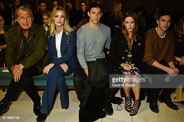 Mario Testino Rosie HuntingtonWhiteley Ben SmithPetersen Riley Keough and Nicholas Hoult wearing Burberry at the Burberry Womenswear February 2016...