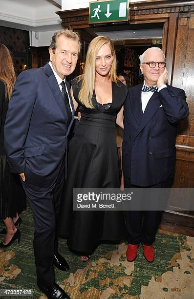 Mario Testino Uma Thurman and Manolo Blahnik attend the 'Icons of Style' dinner hosted by Michael Kors and Vanity Fair on May 14 2015 in London...