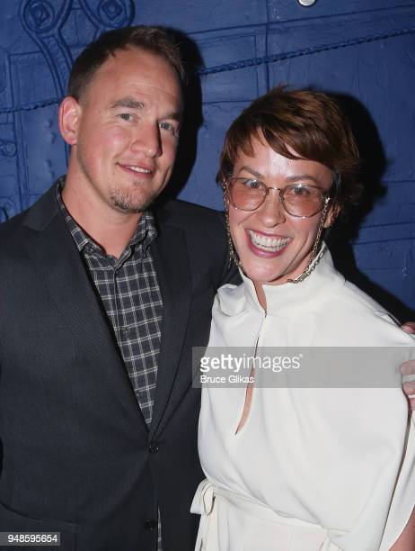 Mario Treadway aka Souleye and wife Alanis Morissette pose backstage at the hit musical Dear Evan Hansen on Broadway at The Music Box Theatre on...