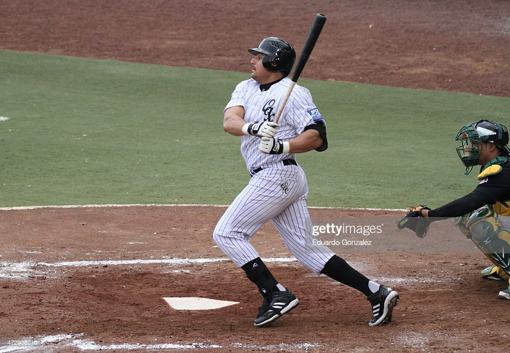 Mario Valenzuela swing during a match between Pericos de Puebla and Guerreros de Oaxaca as part of Mexican Baseball League 2015 at Eduardo Vasconcelos Stadium on May 10, 2015 in Oaxaca, Mexico.