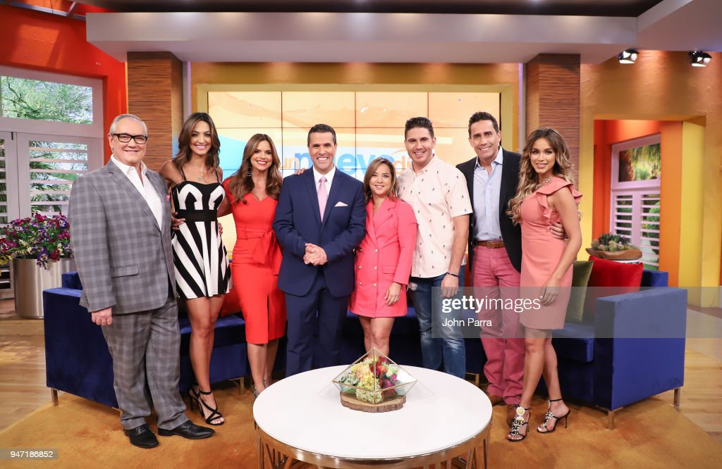 Mario Vannicci, Erika Csiszer, Rashel Diaz, Marco Antonio Regil, Adamari Lopez, Chef James and Janice Bencosme are seen at Telemundo's 'Un Nuevo Dia' on April 16, 2018 in Miami, Florida.