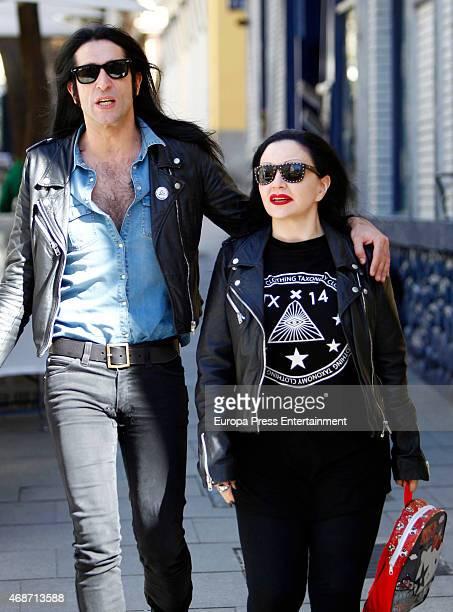 Mario Vaquerizo and Alaska are seen on April 1 2015 in Madrid Spain