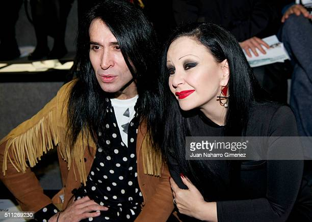Mario Vaquerizo and Alaska attends the front row of xxxx show during the MercedesBenz Madrid Fashion Week Autumn/Winter 2016/2017 at Ifema on...