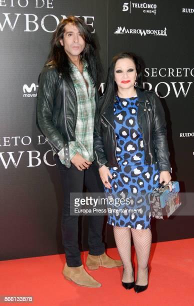 Mario Vaquerizo and Olvido Gara aka Alaska attend the premier of 'El Secreto de Marrowbone' at Capitol cinema on October 24 2017 in Madrid Spain