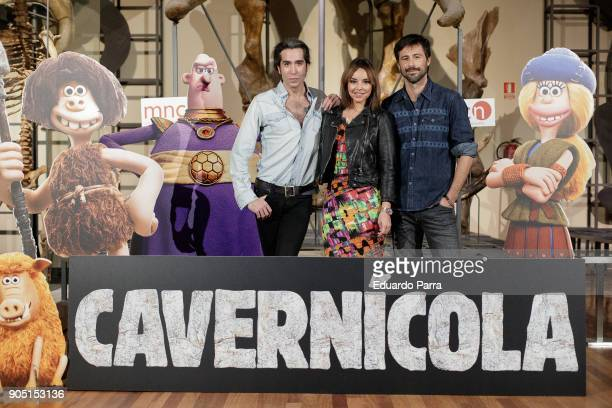 Mario Vaquerizo Chenoa and Hugo Silva attend 'Cavernicola' photocall at Ciencias Naturales National Museum on January 15 2018 in Madrid Spain