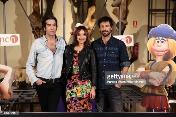 Mario Vaquerizo Chenoa and Hugo Silva attend 'Cavernicola' photocall at Ciencias Naturales National Museum on January 15 2018 in Madrid Spain