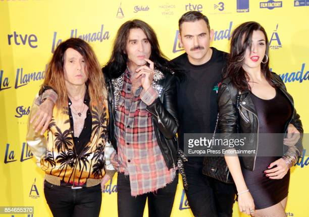 Mario Vaquerizo Marta Vaquerizo and members of Nancy Rubias attends the 'La Llamada' premiere yellow carpet at the Capitol cinema on September 26...