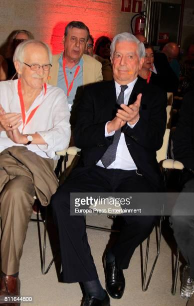 Mario Vargas Llosa and Antonio Escohotado attend the opening of Ciudadanos Party summer courses on July 7 2017 in Madrid Spain