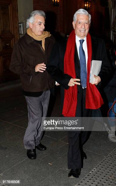 Mario Vargas Llosa and his son Mario Vargas Llosa jr are seen on January 23 2018 in Madrid Spain