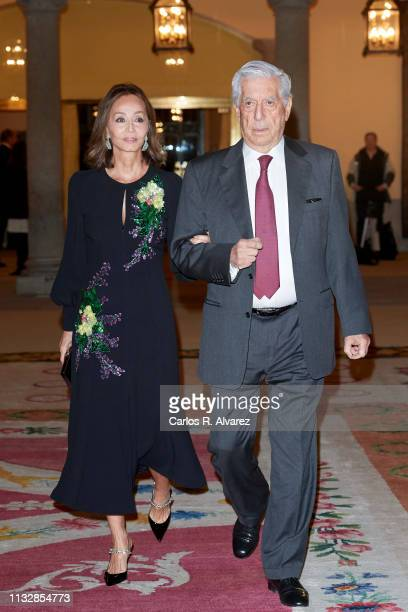 Mario Vargas Llosa and Isabel Preysler attend a reception offered by Peruvian president Martin Alberto Vizcarra in honour of King Felipe VI of Spain...