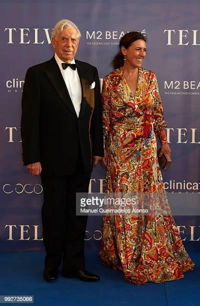 Mario Vargas Llosa and Telva magazine director Olga Ruiz attend Arts Sciences and Sports Telva Awards 2018 at Palau de Les Arts Reina Sofia on July 3...