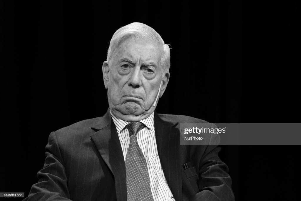 Mario Vargas Llosa attend the tribute to Fernando de Szyszlo at the Instituto Cervantes in Madrid Spain. January 16, 2018