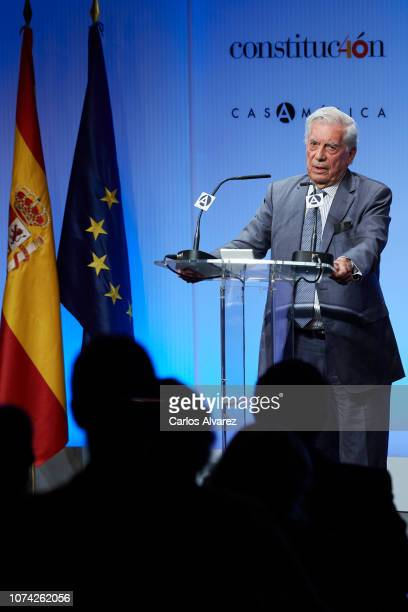 Mario Vargas Llosa attends '40 Años de Diplomacia en Democracia Una Historia de Exito' exhibition at Casa de America on November 29 2018 in Madrid...