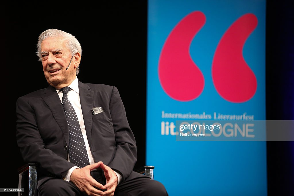 Mario Vargas Llosa attends a reading during the lit. Cologne at `WDR Funkhaus´ on October 23, 2016 in Cologne, Germany.