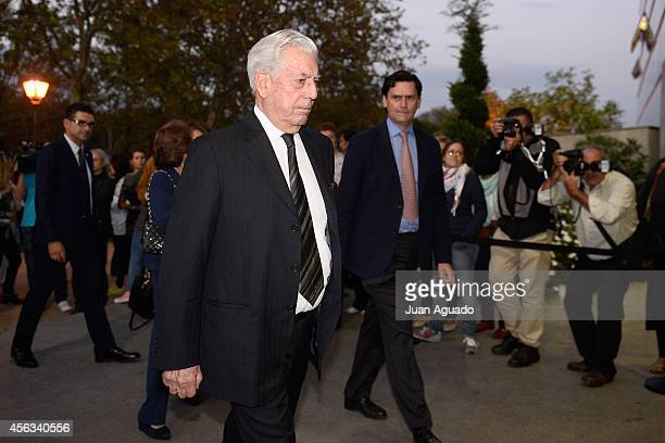 Mario Vargas Llosa attends Parque San Isidro Cemetery following the death of Miguel Boyer on September 29 2014 in Madrid Spain Spanish politician...