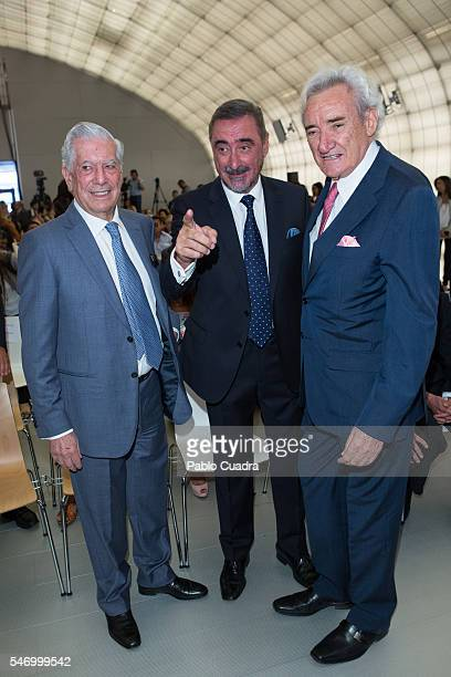 Mario Vargas Llosa Carlos Herrera and Luis del Olmo attend XXXIII 'Rey De Espana' and XII 'Don Quijote' journalism awards on July 13 2016 in Madrid...