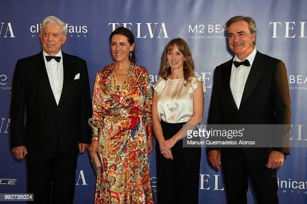 Mario Vargas Llosa Telva magazine director Olga Ruiz Maite Mendioroz and Carlos Sainz attend Arts Sciences and Sports Telva Awards 2018 at Palau de...