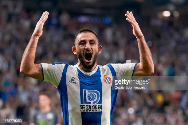 Mario Vargas of RCD Espanyol celebrates his team's first goal during the UEFA Europa League group H match between Espanyol Barcelona and Ferencvarosi...