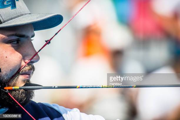 Mario Vavro of Croatia during the Men's compound team finals during the Hyundai Archery World Cup 2018 on July 21 2018 in Berlin Germany