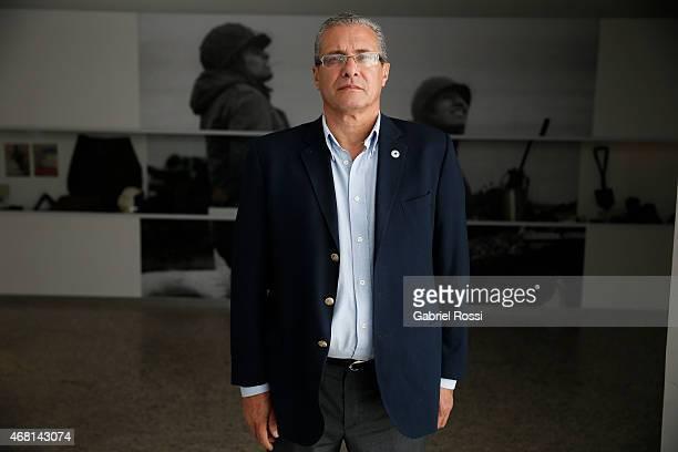 Mario Volpe, Malvinas war veteran and Vice director of the Malvinas e Islas del Atlántico Sur Museum poses for pictures on March 27, 2015 in Buenos...
