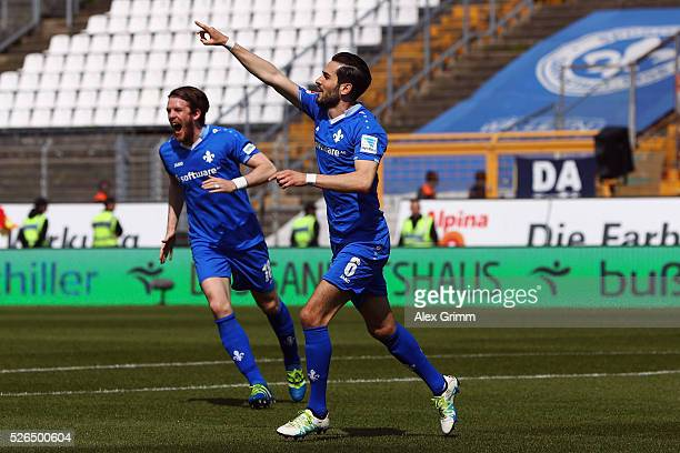 Mario Vrancic of Darmstadt celebrates his team's first goal during the Bundesliga match between SV Darmstadt 98 and Eintracht Frankfurt at...