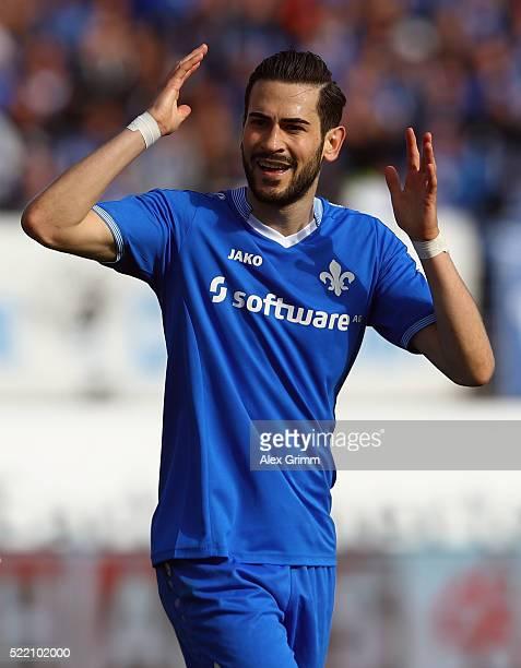 Mario Vrancic of Darmstadt reacts during the Bundesliga match between SV Darmstadt 98 and FC Ingolstadt at MerckStadion am Boellenfalltor on April 16...
