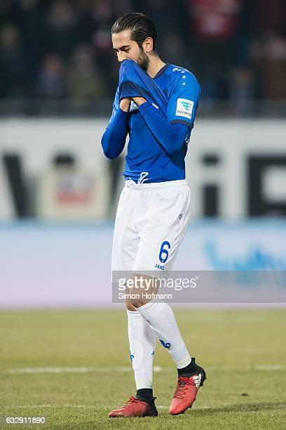 Mario Vrancic of Darmstadt reacts during the Bundesliga match between SV Darmstadt 98 and 1 FC Koeln at JonathanHeimesStadion am Boellenfalltor on...