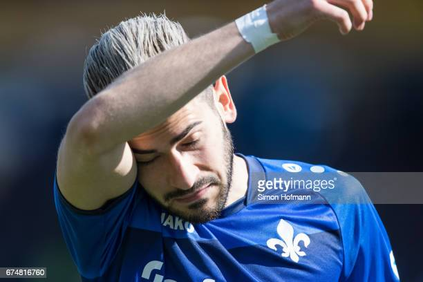 Mario Vrancic of Darmstadt reacts during the Bundesliga match between SV Darmstadt 98 and SC Freiburg at Stadion am Boellenfalltor on April 29 2017...