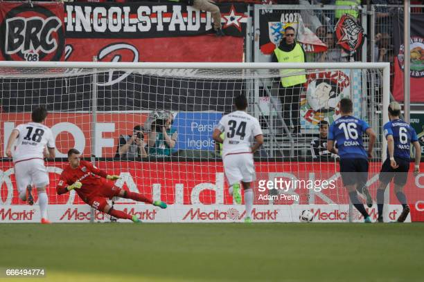 Mario Vrancic of Darmstadt scores his team's second goal from the penalty spot during the Bundesliga match between FC Ingolstadt 04 and SV Darmstadt...