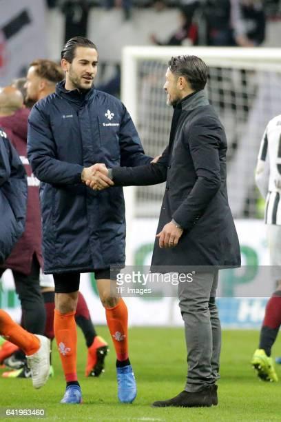 Mario Vrancic of Darmstadt shakes hands with Head couch Niko Kovac of Frankfurt during the Bundesliga match between Eintracht Frankfurt and SV...