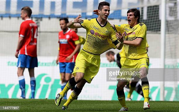 Mario Vrancic of Dortmund celebrates scoring the first goal with Jonas Hofmann during the Regionalliga West match between Wuppertaler SV and Borussia...