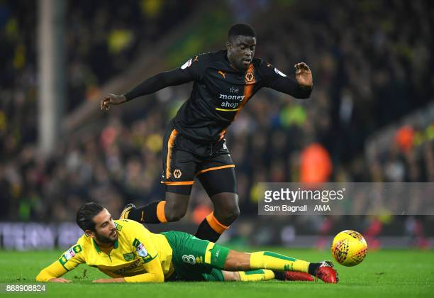 Mario Vrancic of Norwich City and Alfred NDiaye of Wolverhampton Wanderers during the Sky Bet Championship match between Norwich City and...