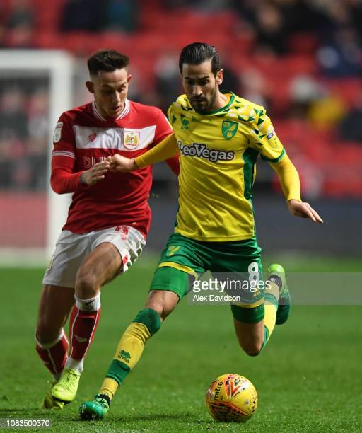 Mario Vrancic of Norwich City competes with Josh Brownhill of Bristol City during the Sky Bet Championship match between Bristol City and Norwich...