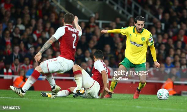 Mario Vrancic of Norwich City during Carabao Cup 4th Round match between Arsenal and Norwich City at Emirates Stadium London England on 24 Oct 2017
