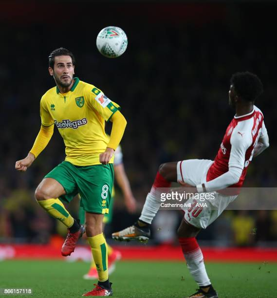 Mario Vrancic of Norwich City during the Carabao Cup Fourth Round match between Arsenal and Norwich City at Emirates Stadium on October 24 2017 in...