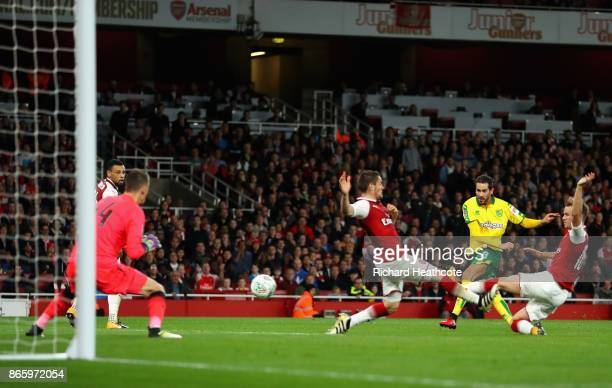 Mario Vrancic of Norwich City shoots during the Carabao Cup Fourth Round match between Arsenal and Norwich City at Emirates Stadium on October 24...