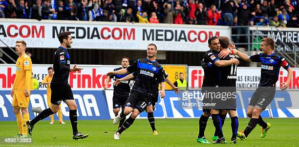 Mario Vrancic of Paderborn celebrates his goal with team mates during the match between SC Paderborn and VFR Aalen at Benteler Arena on May 11 2014...
