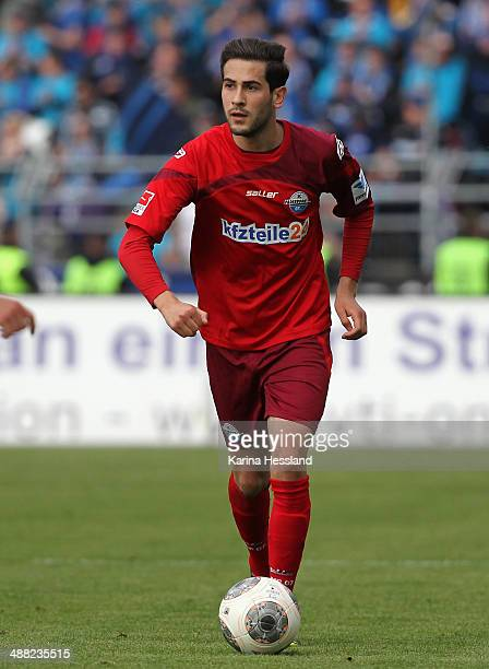 Mario Vrancic of Paderborn during the 2nd Liga match between FC Erzgebirge Aue and SC Paderborn 07 at SparkassenErzgebirgsstadion on May 04 2014 in...