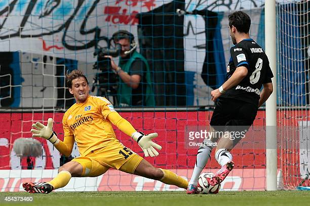 Mario Vrancic of Paderborn scores his first goal during the Bundesliga match between Hamburger SV and SC Paderborn 07 at Imtech Arena on August 30...